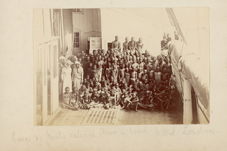 Cargo of newly released slaves on board HMS London, c. 1880